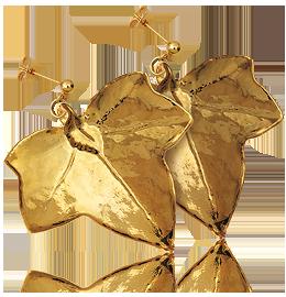 brillante nella lucentezza uomo dettagliare Orecchini Foglia di Edera - finitura oro 24 kt liscia